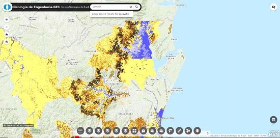 A partir do sistema de busca, é possível localizar informações sobre os municípios mapeados pelo Serviço Geológico do Brasil.
